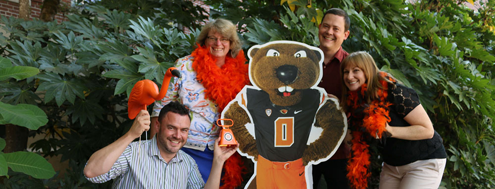 Academic Programs team with Benny the Beaver