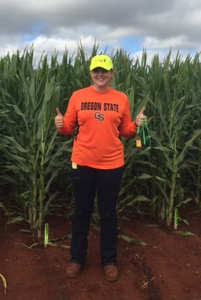 Bailey Jenks, Agricultural Sciences major, as an intern at Monsanto Hawaii
