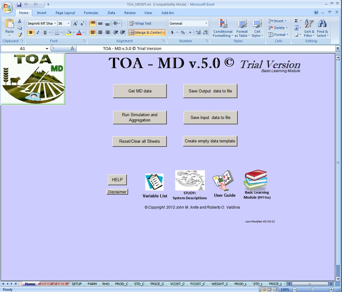 First screen of TOA-MD 5.0 software