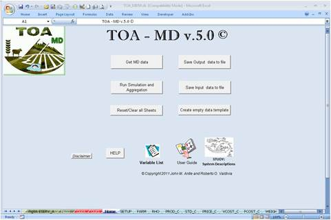 Image of the main screen from the T)A-MD 5.0 software