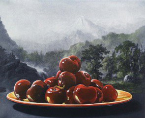 Sherrie Wolf, Cherries/Mountains, 2015, Photogravure and hand colored etching, 3/30, 19.5 by 22.5 inches