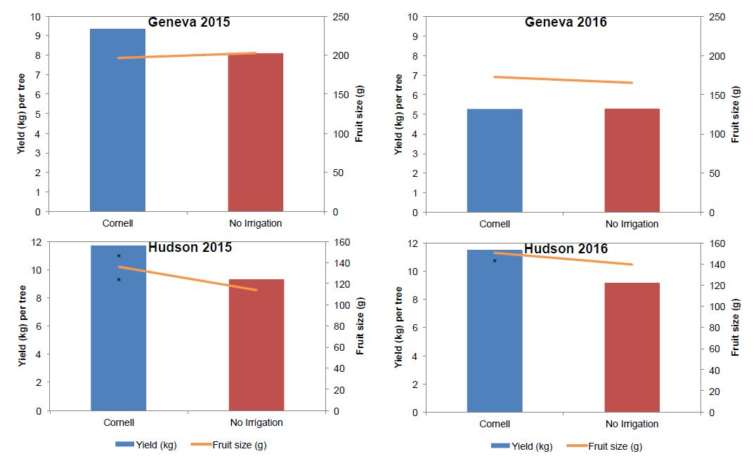 Yield and fruit size in Geneva and Hudson orchards in 2015 and 2016. Asterisks indicate significant differences.