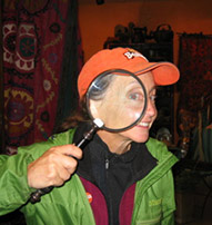 Amy Dreves with magnifying glass