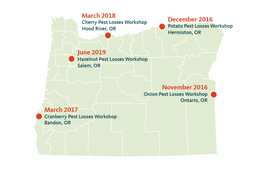 Oregon map showing workshop locations