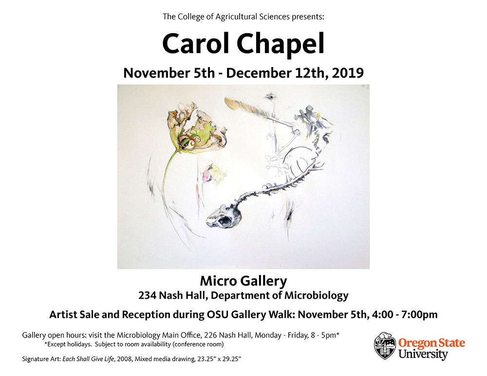 Carol Chapel exhibit November 5-December 12 in 234 Nash Hall