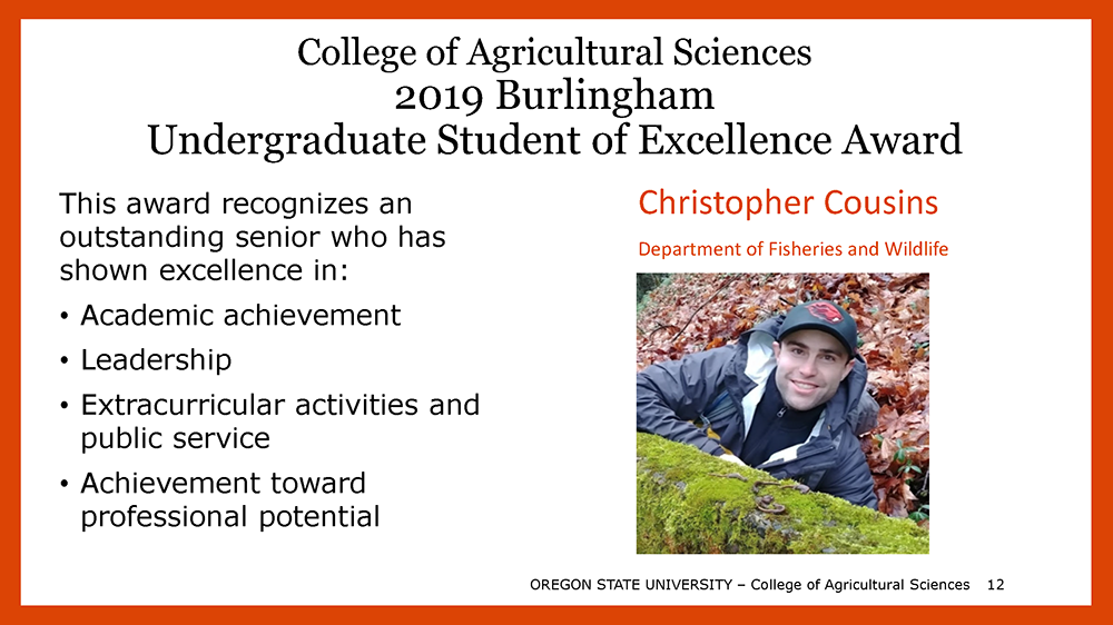 2019 Burlingham Undergraduate Student of Excellence Award is Christopher Cousins