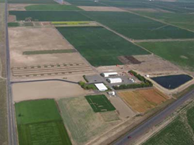 Aerial view of Central Oregon Agricultural Research Center near Madras, Oregon.