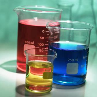 Glass beakers with colored liquid