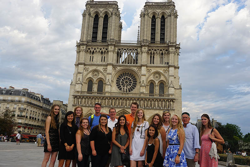 Students in front of Notre Dame in Paris