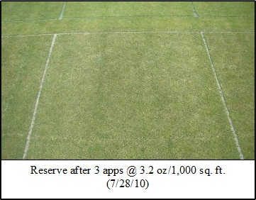 Picture: Reserve after 3 apps @ 3.2 oz/1,000 sq. ft. (7/28/10)