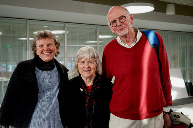 From Left: Liz Larew (donor), Stella Coakley (Board member) and Hiram Larew (creator of Global Experience Fund)