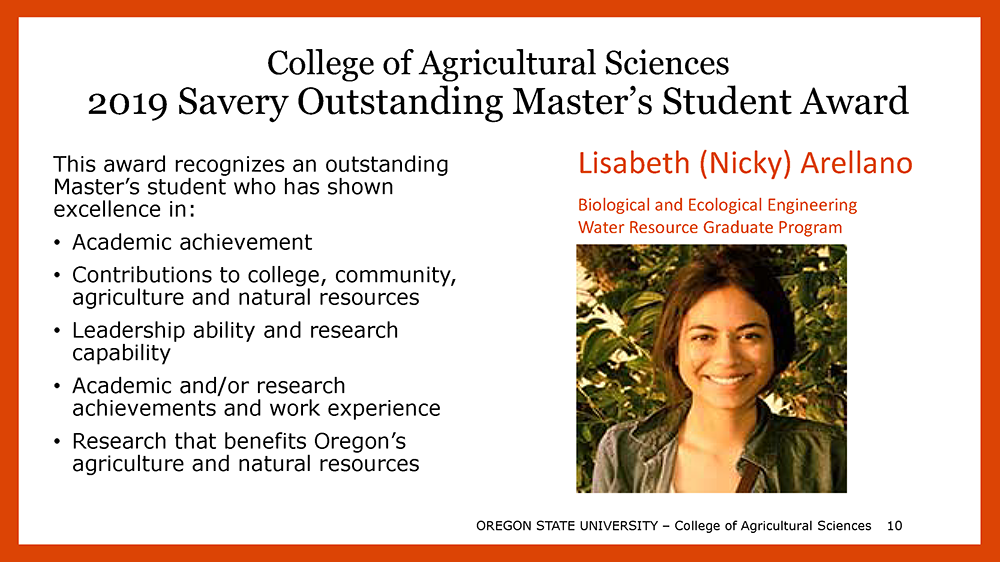 2019 Savery Outstanding Masters' Student is Lisabeth (Nicky) Arellano