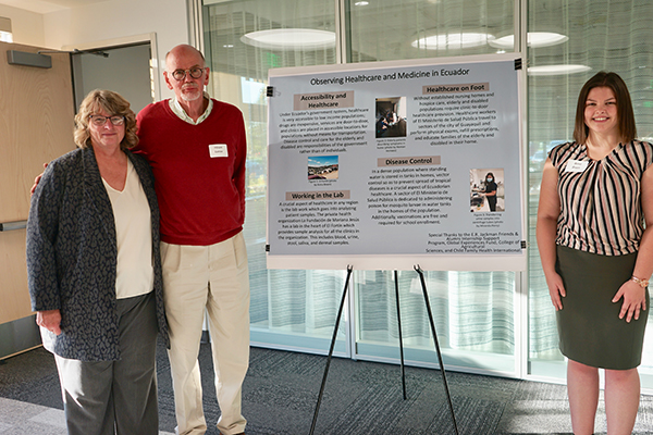 From Left to right: Assistant Dean Dr. Penny Diebel, Dr. Hiram Larew, founder of Global Experience Fund, and Anna Breen, undergraduate major  in Bioresearch Research