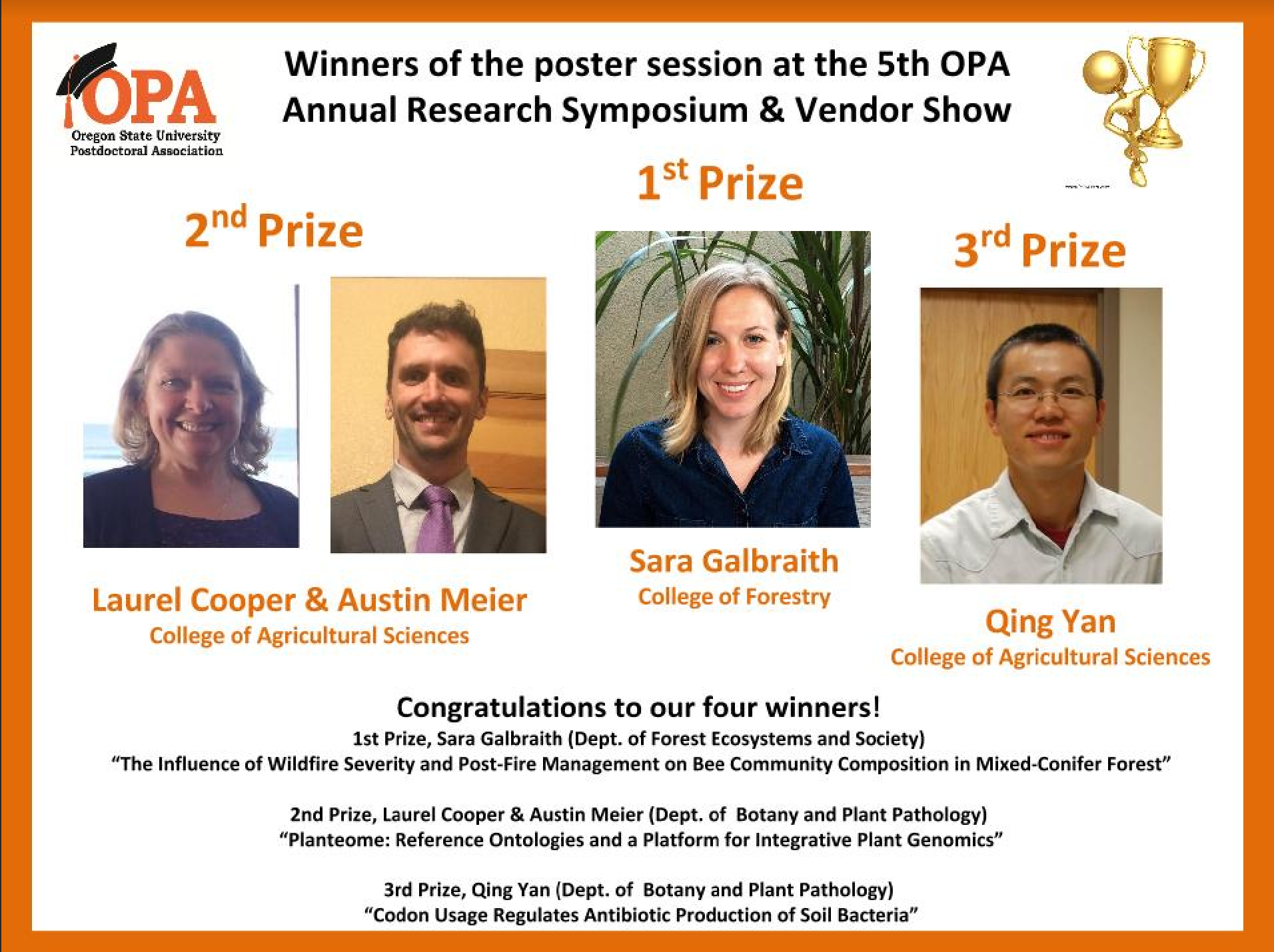 OSU Postdoctoral Research Symposium Awardees