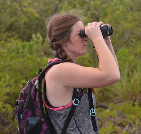 Kelly Shotwell participating in the Christmas Bird Count survey with Para la Naturaleza