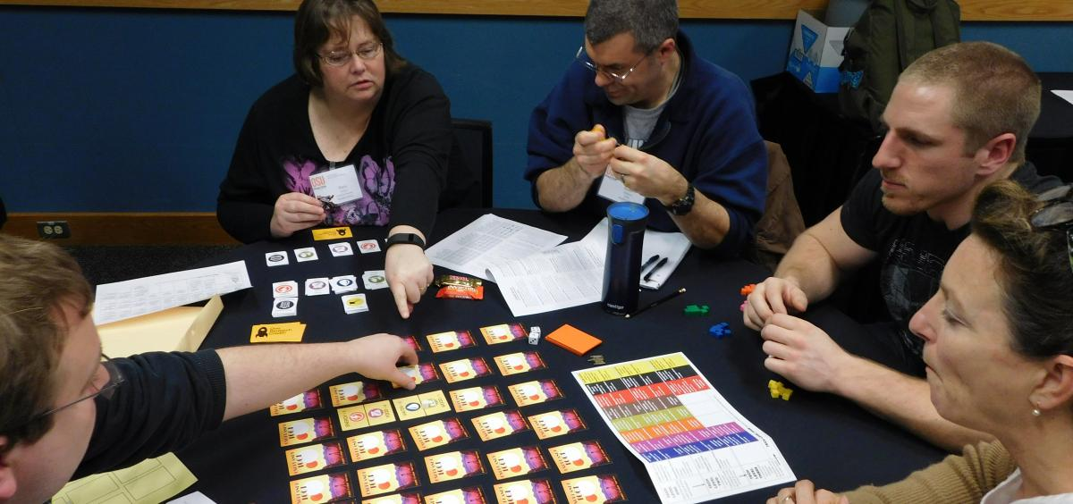 Teachers try out the new bioenergy sustainability game at workshop