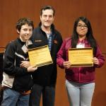 SMILE director, Kyle Cole with two SMILE club students who recieved five year award