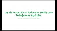 Ley de Protección al Trabajador (WPS) para Trabajadores Agrícolas