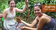Kelly and Ashley digging Taro root