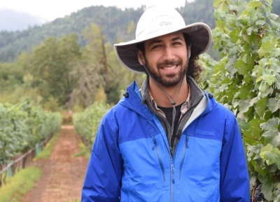 Alec Levin researches wine grapes and irrigation in southern Oregon. Photo by Stephen Ward.