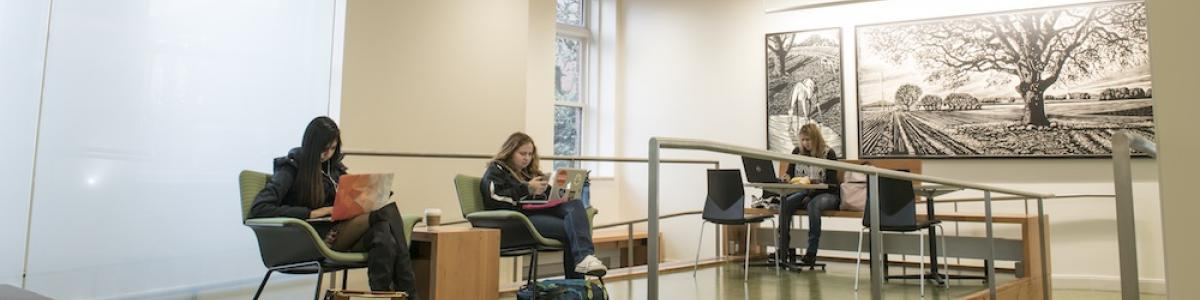 Students studying in Strand Agriculture Hall