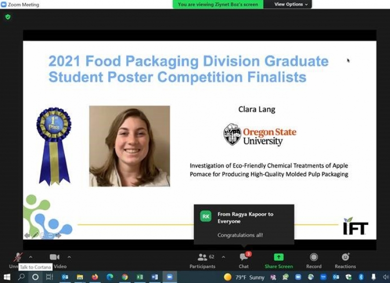 Clara Lang, FST MS student, won first place in the IFT Food Packaging Division poster competition