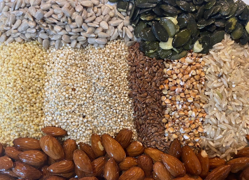 Grains, seeds and nuts that have been soaked in cold water. Photo by Joy Waite-Cusic, Oregon State University