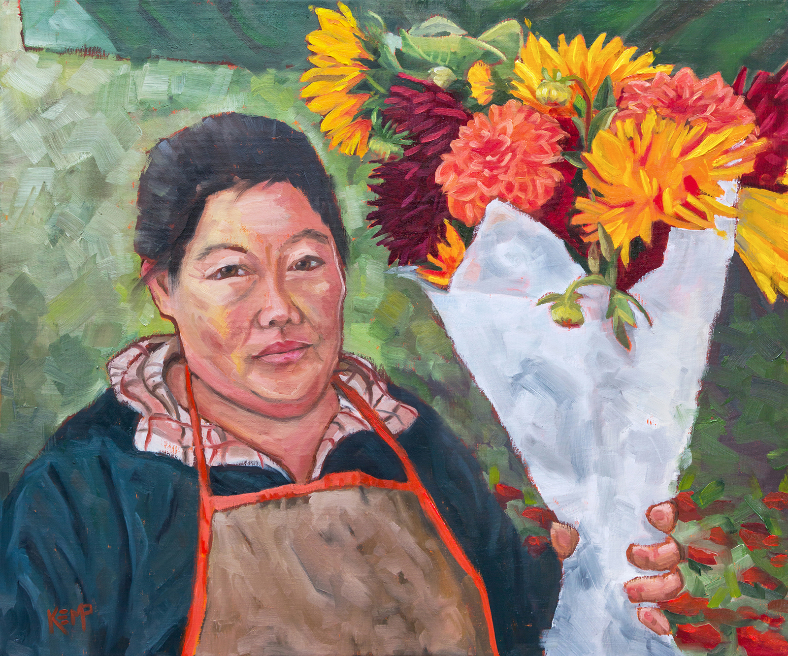 "Tara Kemp, The Flower Vendor, 2020, Oil, 20"" x 24""."